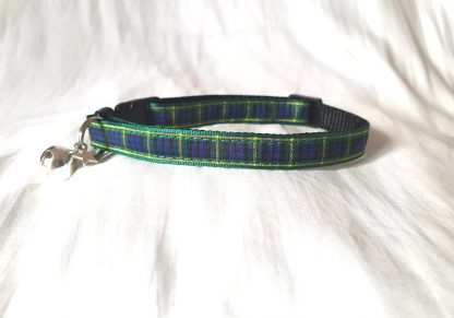 Scottish tartan cat kitten collar blue green_4