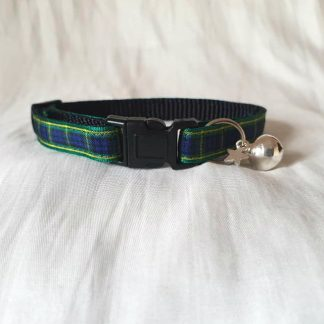 Scottish tartan cat kitten collar blue green