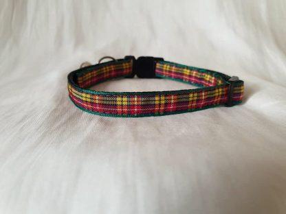 Red yellow Scottish tartan cat kitten safety collar