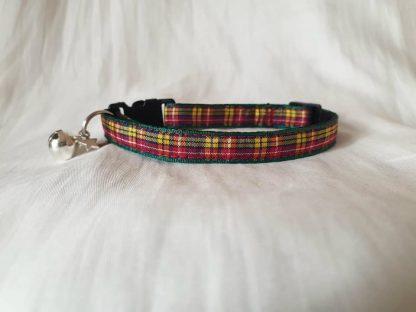 Red yellow Scottish tartan cat kitten safety collar_3
