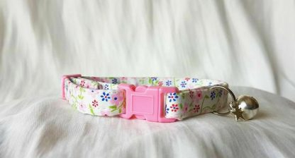 Cotton Pink Blue Red Flower Cat Kitten Collar