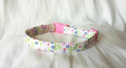 Cotton Pink Blue Red Flower Cat Kitten Collar 2