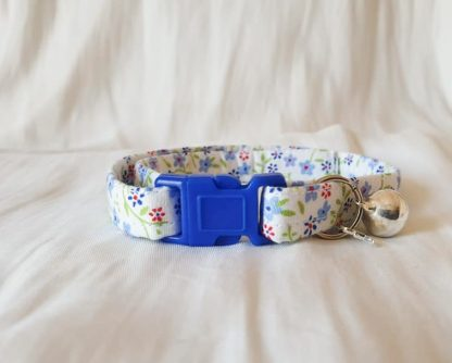 Cotton Bow Blue Daisy Flower Cat Kitten Collar _1