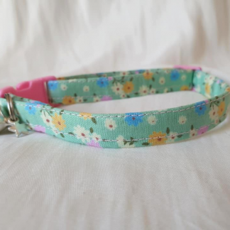 Green Floral Cotton Cat Kitten Safety Collar 3