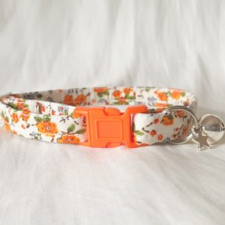 Cotton vintage orange blossom Kitten Cat Collar _1