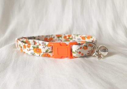 Cotton vintage orange blossom Kitten Cat Collar _1