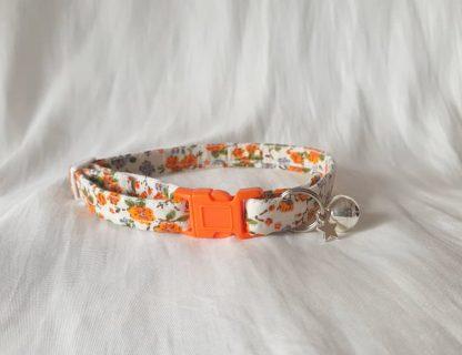Cotton vintage orange blossom Kitten Cat Collar _2