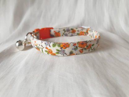 Cotton vintage orange blossom Kitten Cat Collar _3