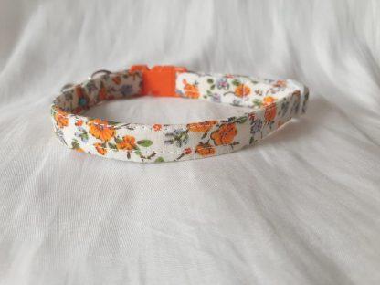 Cotton vintage orange blossom Kitten Cat Collar _5