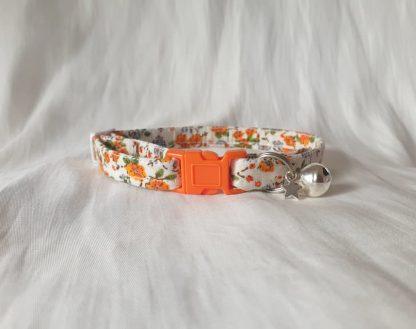 Cotton vintage orange blossom Kitten Cat Collar _6
