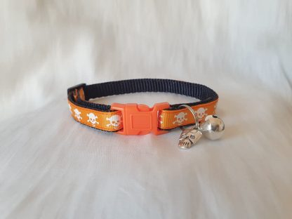 Halloween Skulls Kitten Cat Collar Orange 2