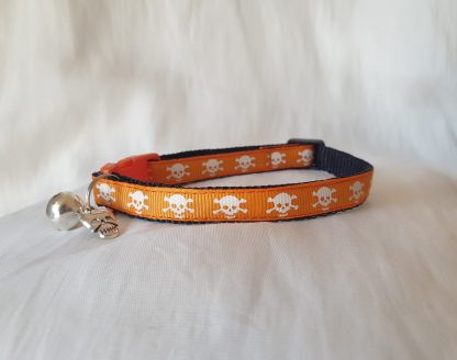 Halloween Skulls Kitten Cat Collar Orange 1