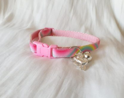 Pink unicorn rainbow kitten cat collar_2