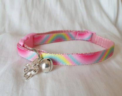Pink unicorn rainbow kitten cat collar_1