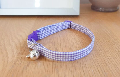 Purple cotton gingham cat kitten collar _ 4