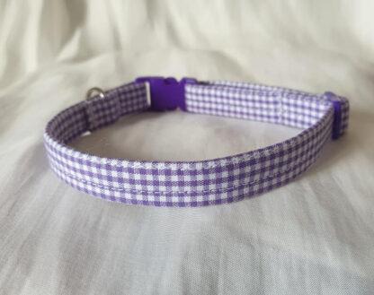 Purple cotton gingham cat kitten collar _ 3