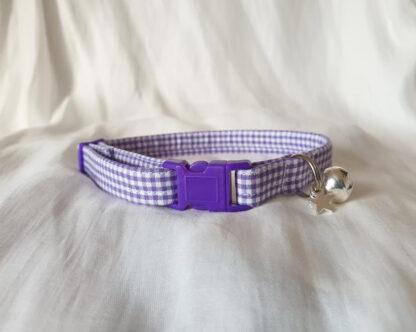 Purple cotton gingham cat kitten collar _ 2
