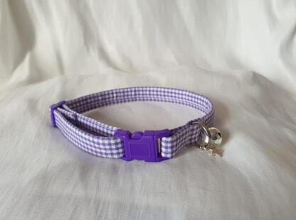 Purple cotton gingham cat kitten collar _ 1