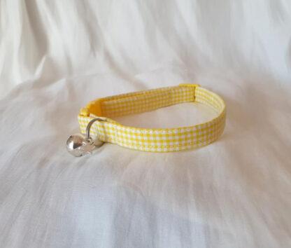 Yellow cotton gingham cat kitten collar _ 2