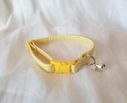 Yellow cotton gingham cat kitten collar _ 1