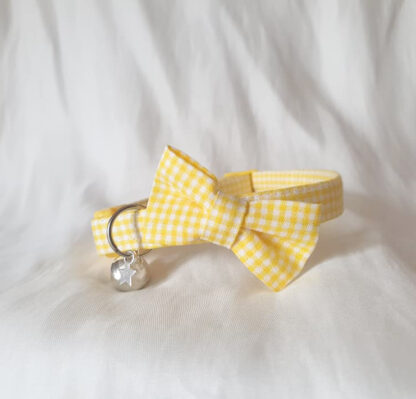Yellow cotton gingham bow cat kitten collar _ 4