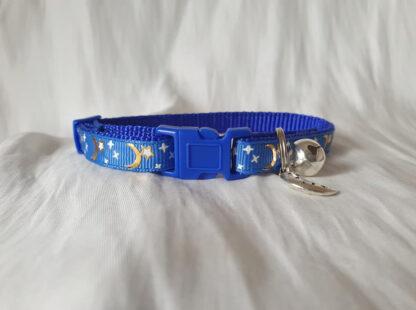 Moon Stars Handmade cat collar blue 1