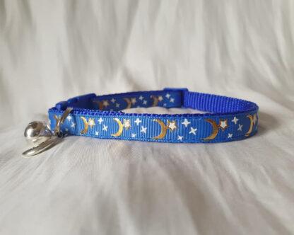 Moon Stars Handmade cat collar blue 2