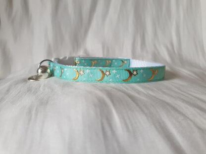 Handmade cat collar green 2