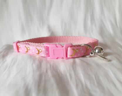 Moon Stars Handmade cat collar light pink 1