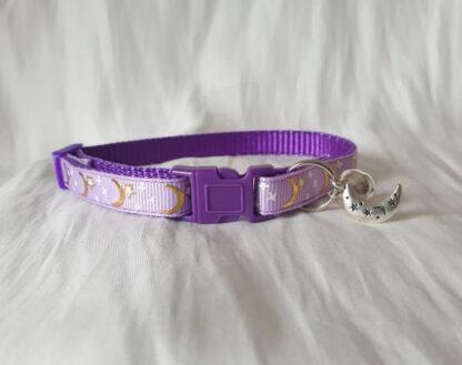 Handmade cat collar purple 2