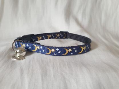 Moon Stars Handmade cat collar midnight blue 2