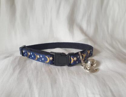 Moon Stars Handmade cat collar midnight blue 1