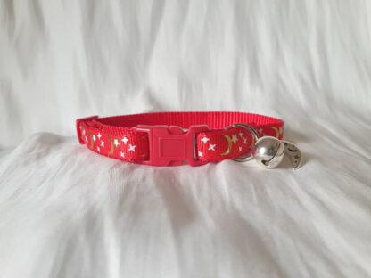 Moon Stars Handmade cat collar red 2